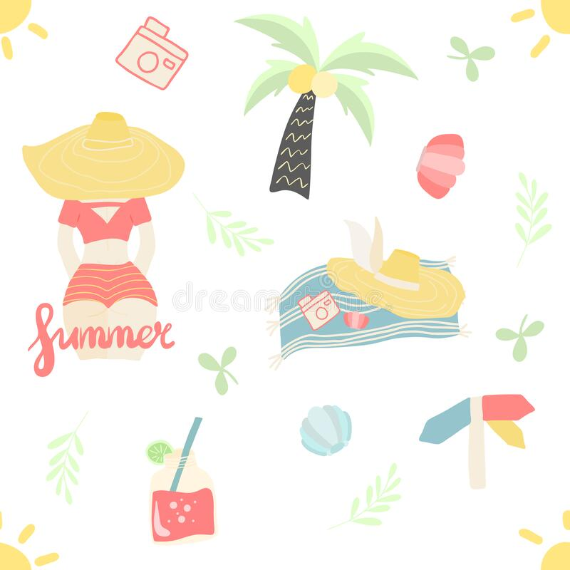 Free Seamless Pattern Of Summer Elements Palm, Hat, Shells, Summer Girl, Floral Elements, Cocktails Royalty Free Stock Photography - 184912247