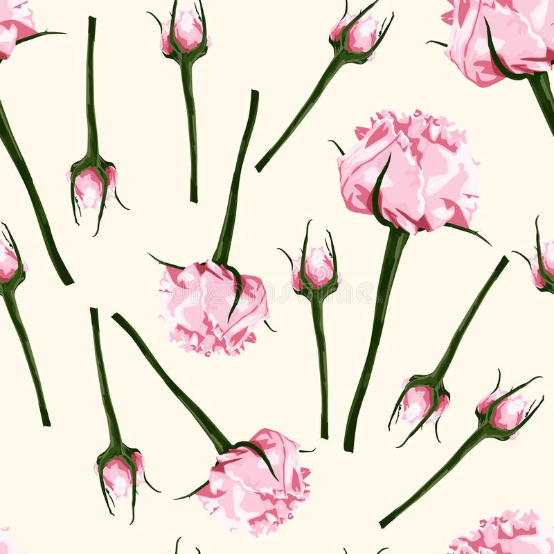 Free Seamless Pattern Of Vector Watercolor Style Pink Bud Of Roses. Illustration Of Flowers. Royalty Free Stock Photo - 120185145