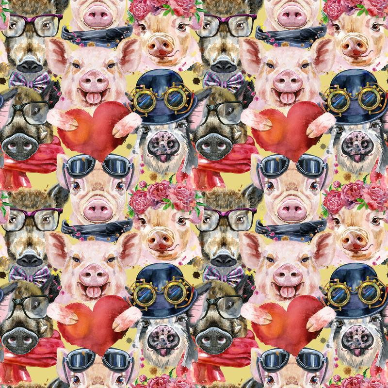 Free Seamless Pattern Of Watercolor Portrait Pigs And Boar Stock Images - 161183964