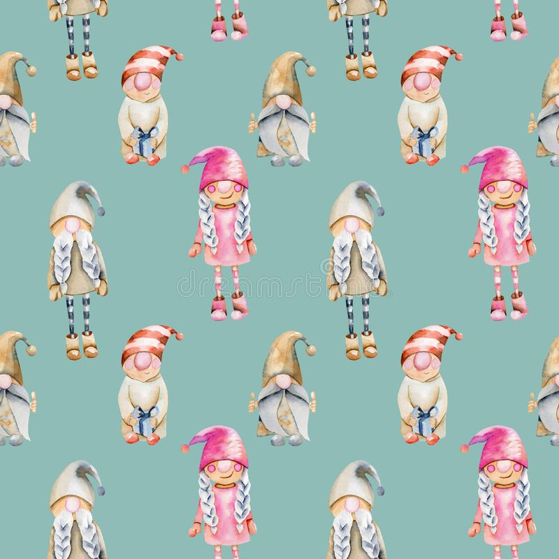 Free Seamless Pattern Of Watercolor Scandinavian Trolls, Christmas Gnomes Royalty Free Stock Photo - 150699005