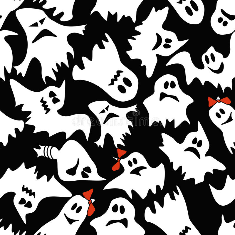 Free Seamless Pattern Of White Ghosts Stock Photo - 33698750