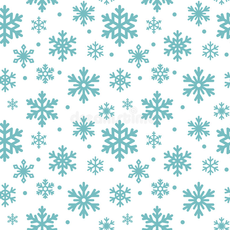 Free Seamless Pattern Of Winter Snowflakes, Vector Background. Repeated Texture, Surface, Wrapping Paper. Cute Blue Snow Stock Image - 83591201