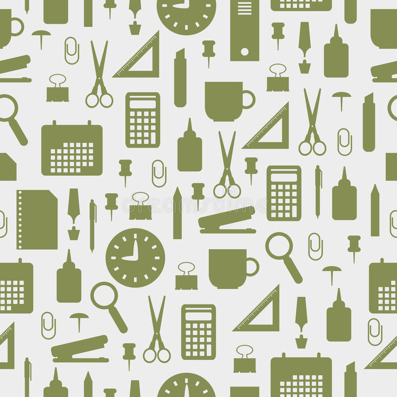 Seamless pattern with office stationery icons royalty free illustration