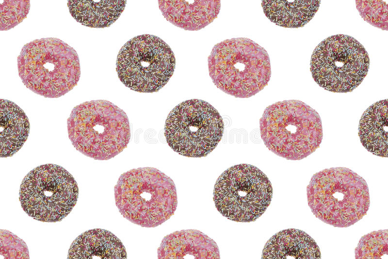 Seamless Pattern ofPink and Chocolate glazed Donuts royalty free stock photo