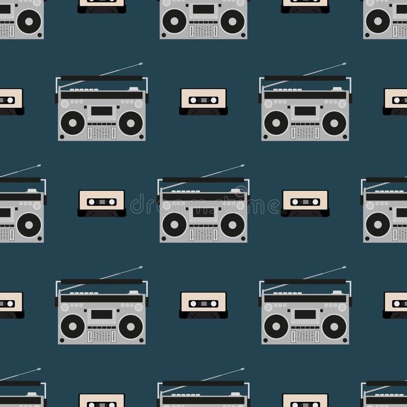 Seamless pattern with old boomboxes and tape cassettes. Vintage music print. Retro vector illustration. royalty free illustration
