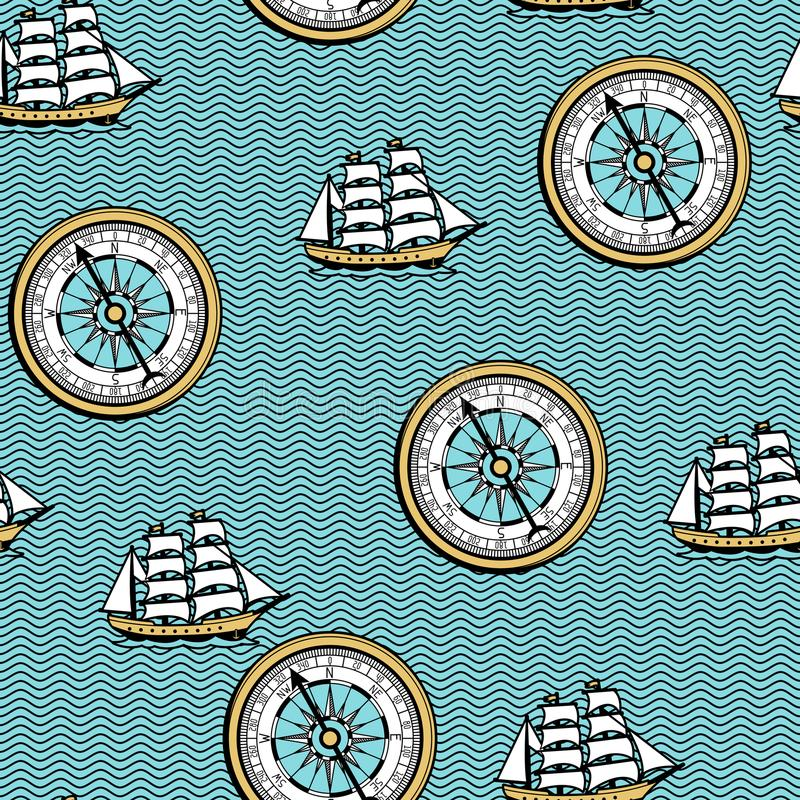 Download Seamless Pattern With Old Nautical Map. Stock Vector - Illustration of historical, paper: 118690716