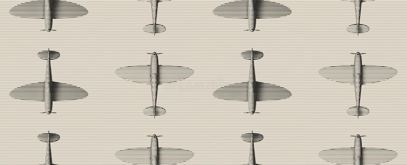 Seamless pattern. Old woodcut stylized airplanes over striped background. royalty free illustration