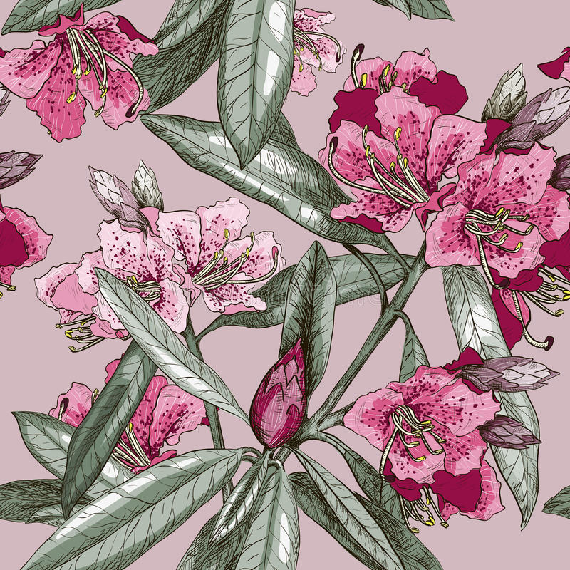 Seamless pattern with Oleander flower stock illustration