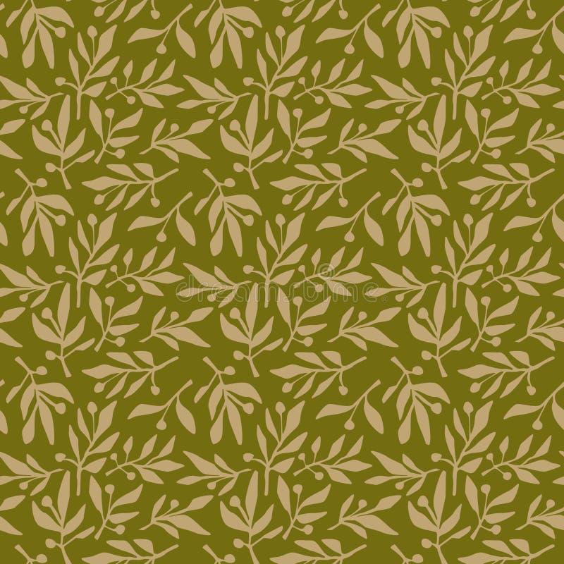 Seamless pattern olive branch stock illustration