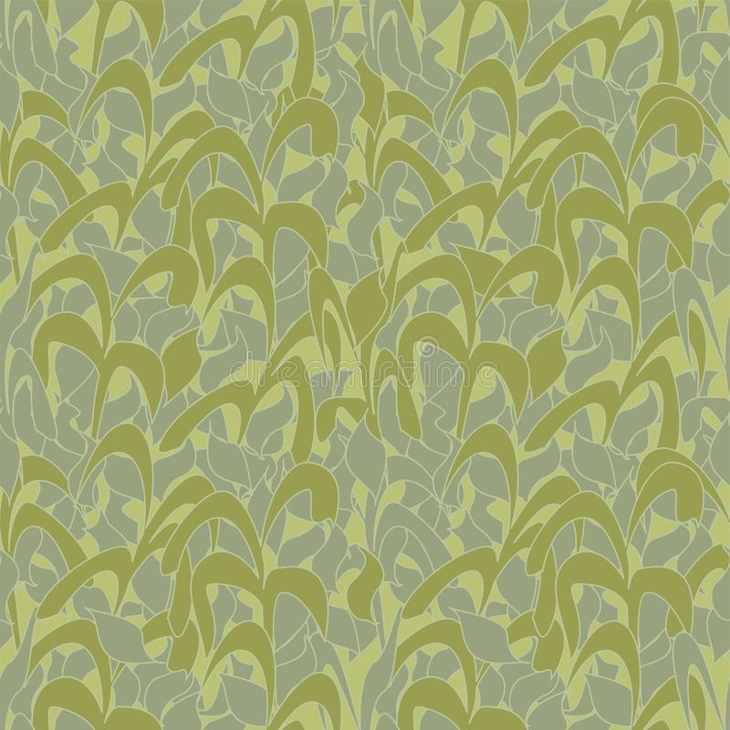 Seamless pattern, olive camouflage from reed leaves for fabrics, wallpapers, tablecloths, prints and designs. Abstract background. For mobile applications. EPS royalty free illustration