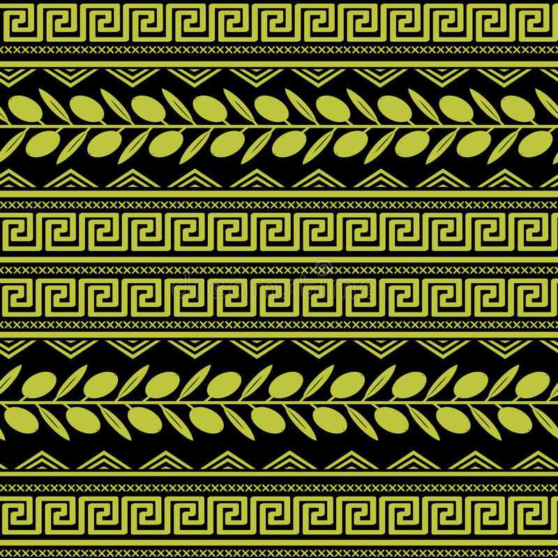 Seamless pattern with olive ornament stock illustration