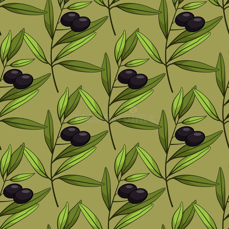 Seamless pattern with olives. Vector branches, leaves and black olives on green background. vector illustration