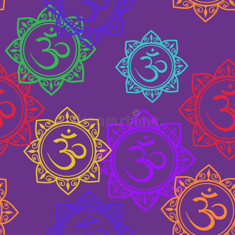 Seamless pattern of Om signs royalty free illustration