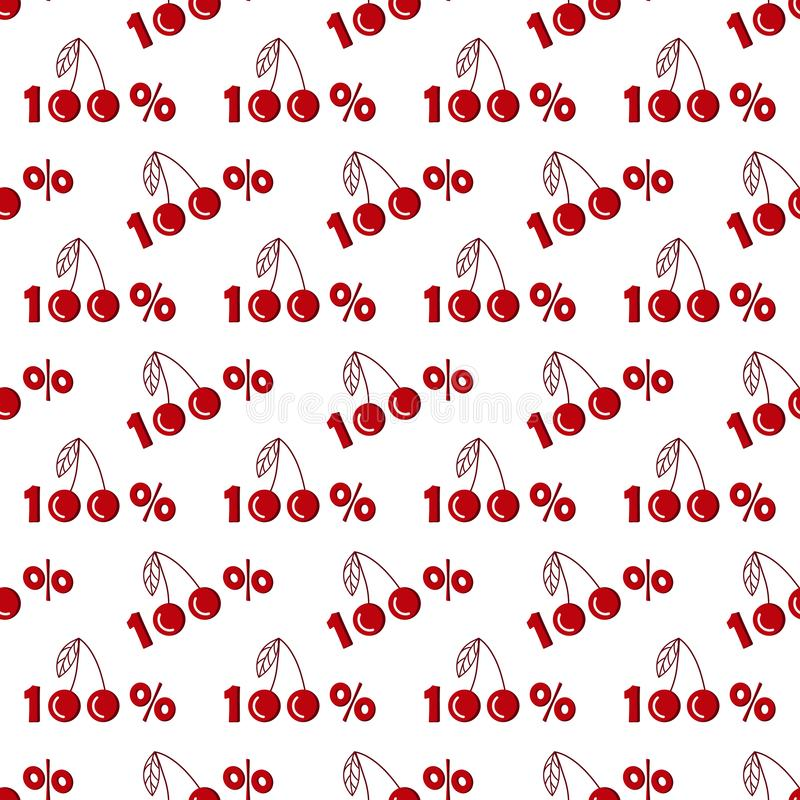 Seamless pattern with one hundred percent cherries in flat style royalty free illustration