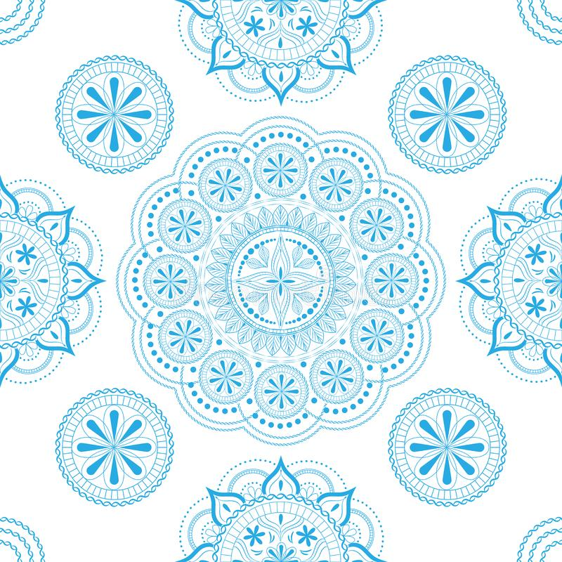 Seamless pattern with openwork floral ornament in pastel white and light blue colors on a white background royalty free illustration
