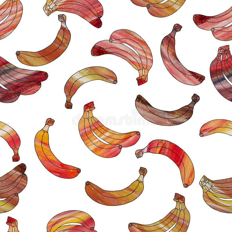 Seamless pattern of orange beautiful bananas isolated on a white background stock images