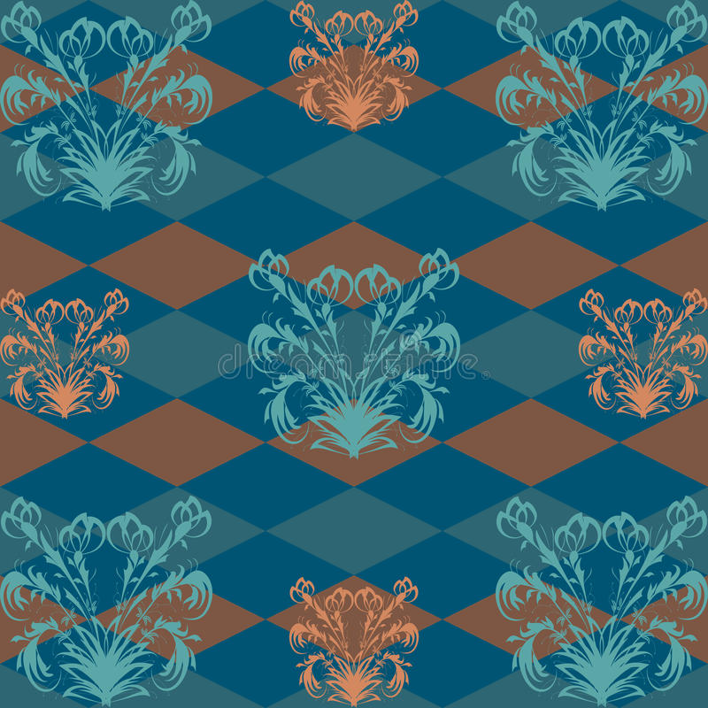 Seamless pattern with orange flower pattern on a dark blue Rob in the background stock image