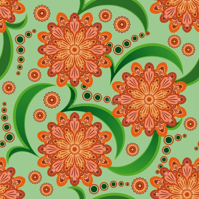 Seamless pattern with orange flowers royalty free stock photos