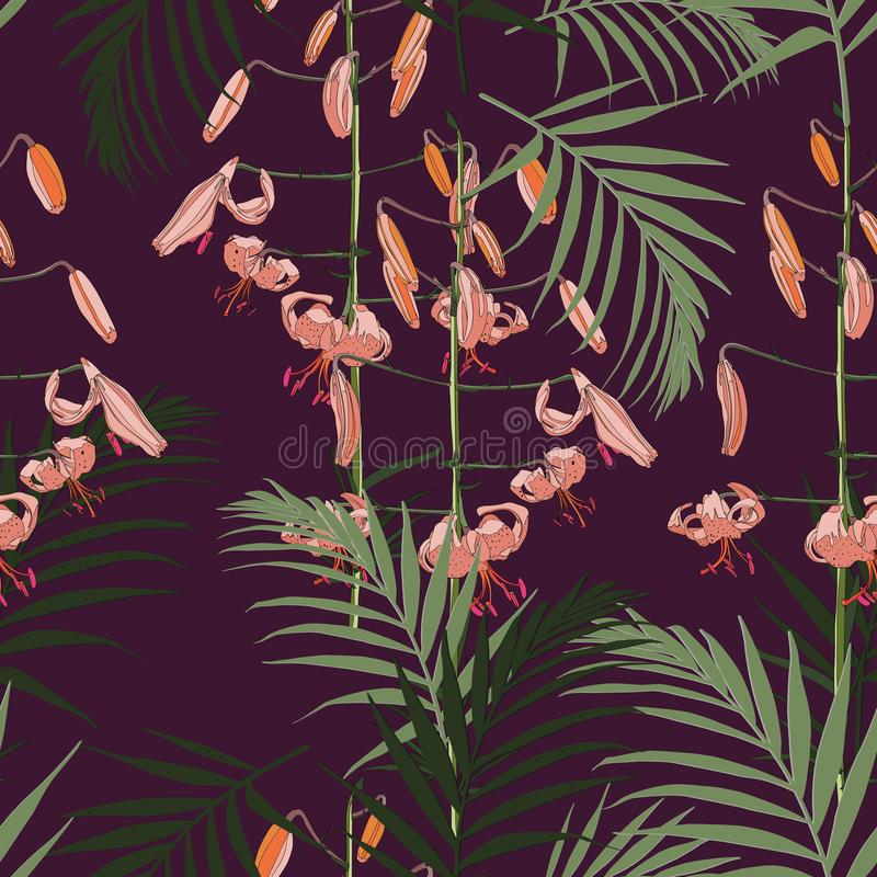 Seamless pattern, orange lilies flowers and green palm leaves on dark violet background. Green, pink and orange tones vector illustration