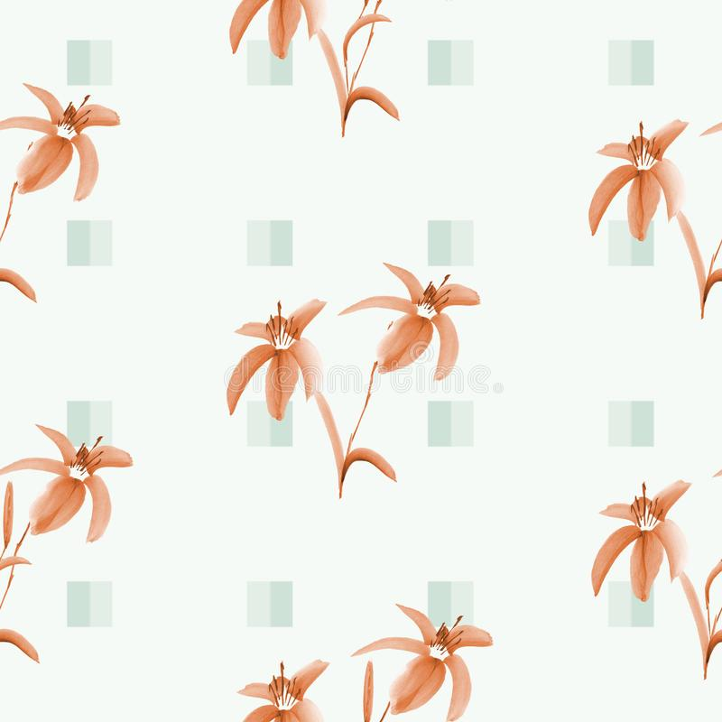 Seamless pattern of orange lily flowers on a light green background with green squares. Watercolor royalty free illustration