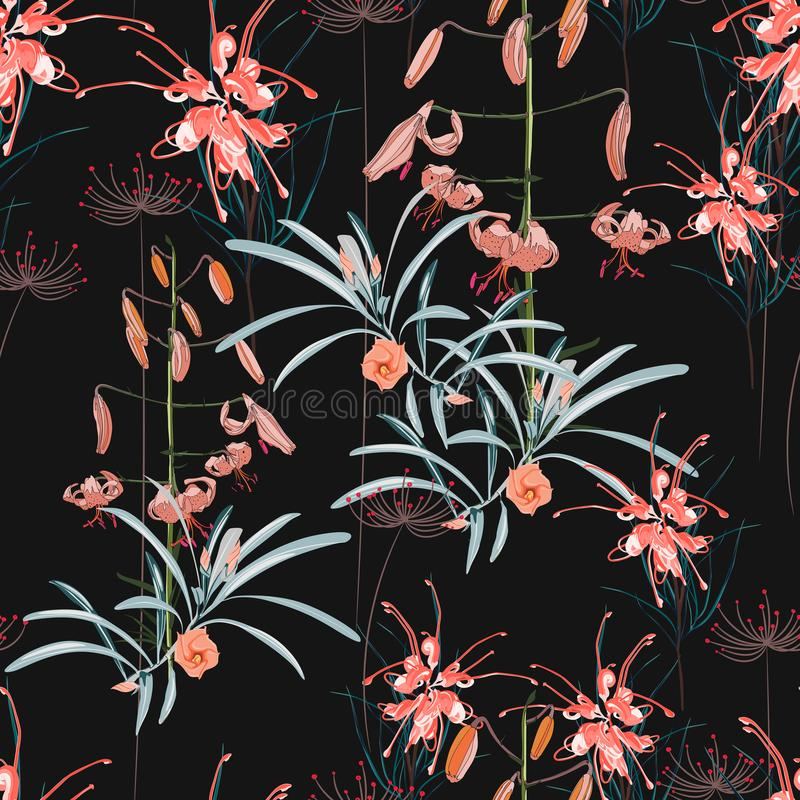 Seamless pattern, orange lily flowers and protea flowers with blue leaves on black background stock illustration