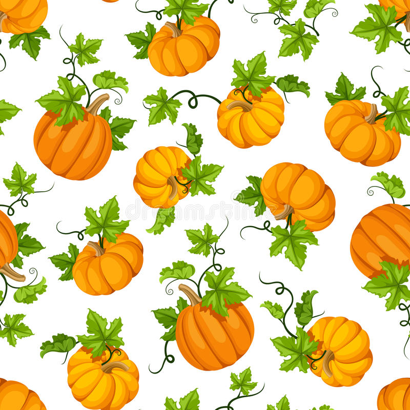 Seamless pattern with orange pumpkins and green leaves. Vector illustration. royalty free illustration