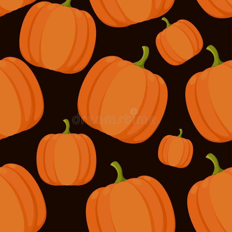 Seamless pattern. Orange pumpkins. Vegetable in flat style. Vector illustration on black background.  royalty free illustration