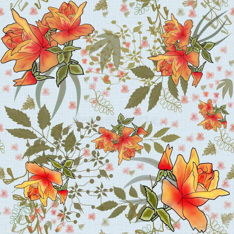 Seamless pattern with orange roses. On grey background royalty free illustration