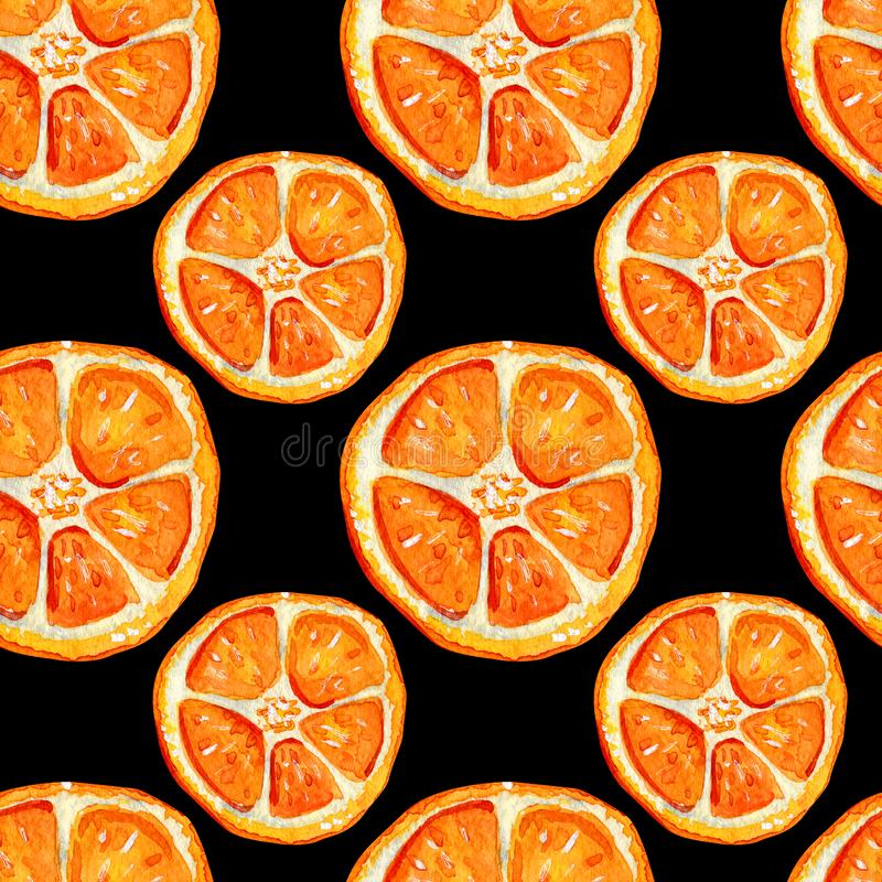 Seamless pattern with orange slices royalty free illustration