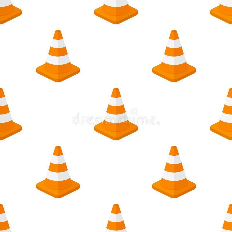 Traffic Cone Flat Icon Seamless Pattern vector illustration