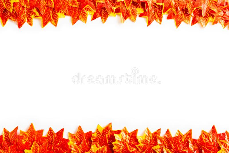 Seamless pattern of orange and yellow Autumn maple leaves stock photography