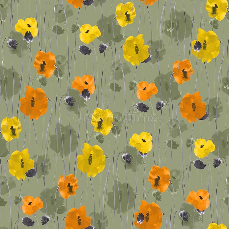 Seamless pattern of orange, yellow, beige flowers on a green background. Watercolor stock illustration