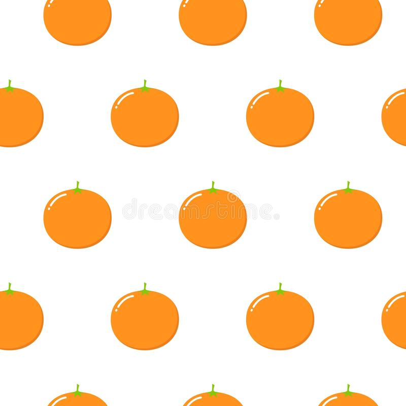 Seamless Pattern with Oranges Fruit. Fresh Background with Stylized Citrus Fruits and Green Petals. Seamless Pattern with Vector Oranges for Wallpaper stock illustration