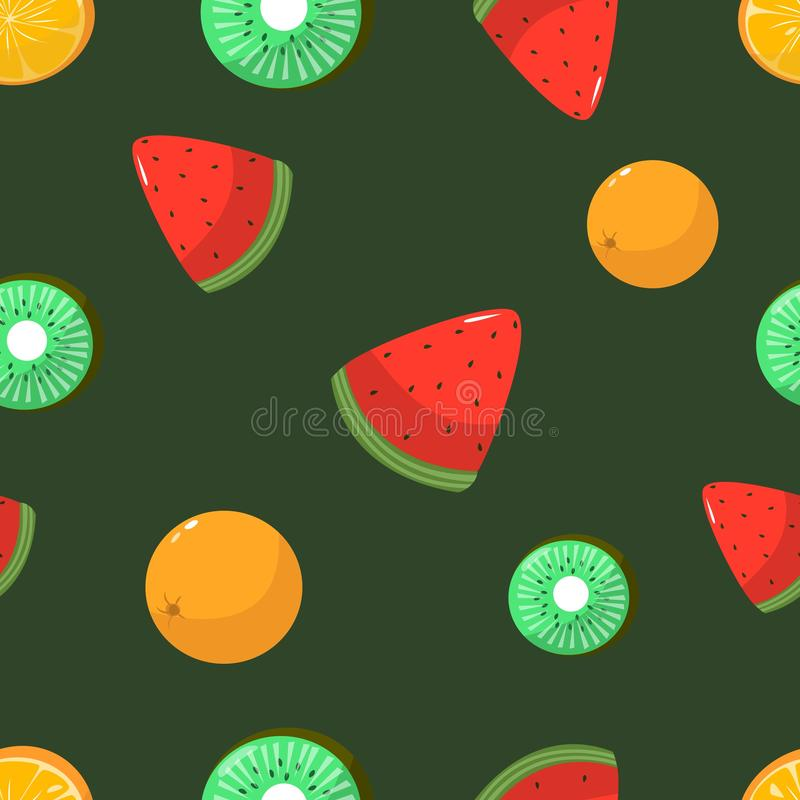 Seamless pattern of oranges kiwi and watermelon vector illustration. Seamless pattern of oranges kiwi and watermelon on dark green background cartoon style royalty free illustration