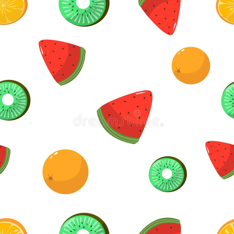 Seamless pattern of oranges kiwi and watermelon on white background vector illustration. Seamless pattern of oranges kiwi and watermelon on white background stock illustration
