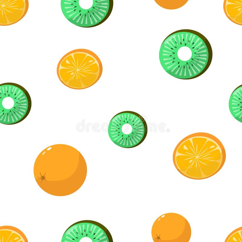 Seamless pattern of oranges and kiwi on white background vector illustration. Seamless pattern of oranges and kiwi on white background cartoon style vector stock illustration