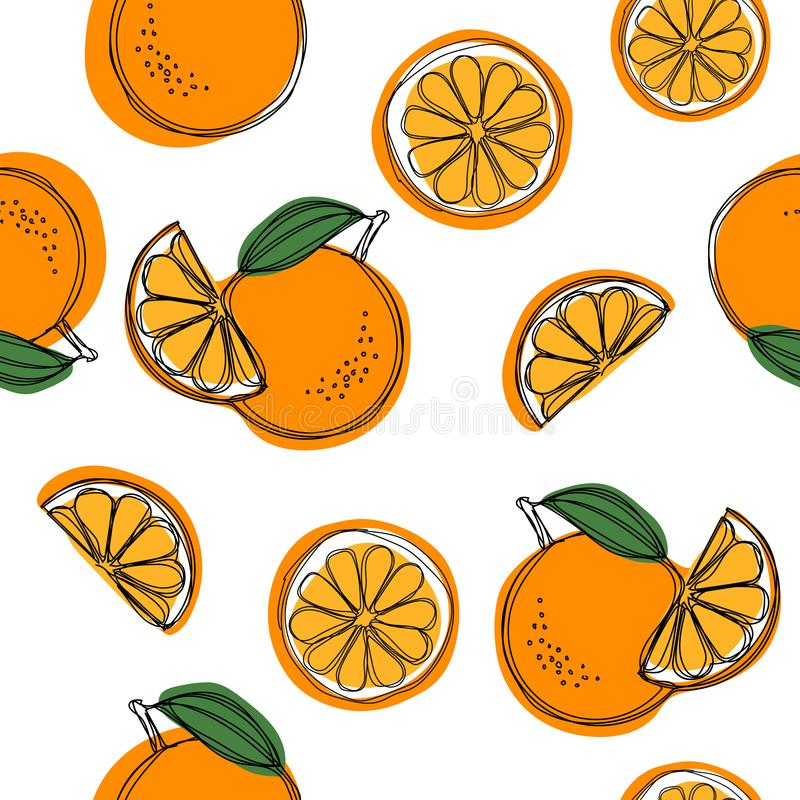 Seamless pattern with oranges and leaves. Seamless pattern with oranges and leaves stock illustration