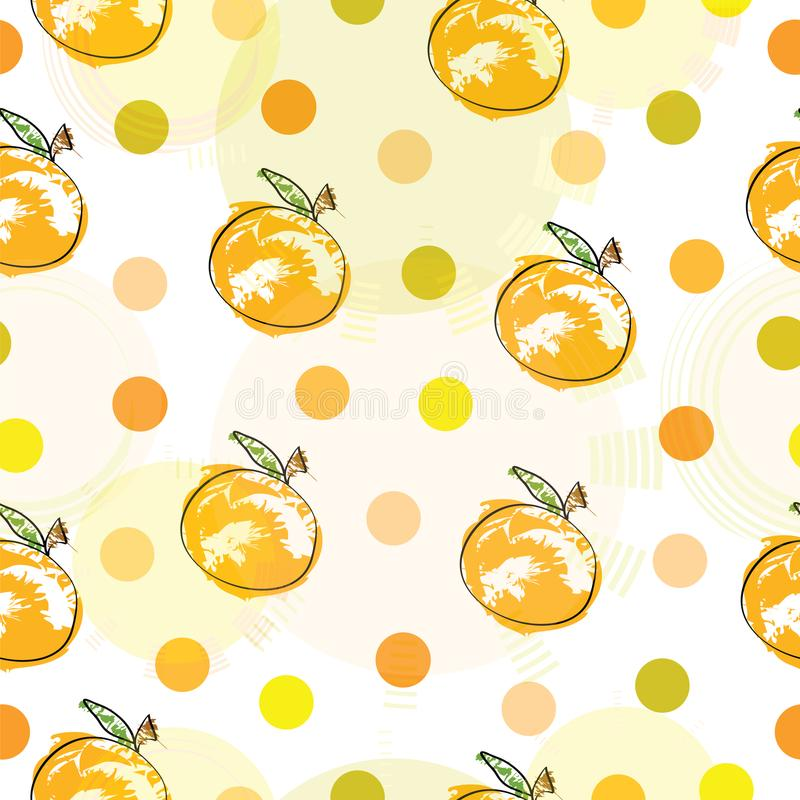 Seamless pattern with oranges and polka dots stock illustration
