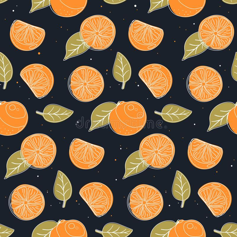 Seamless pattern with oranges, slices and leaves. vector illustration