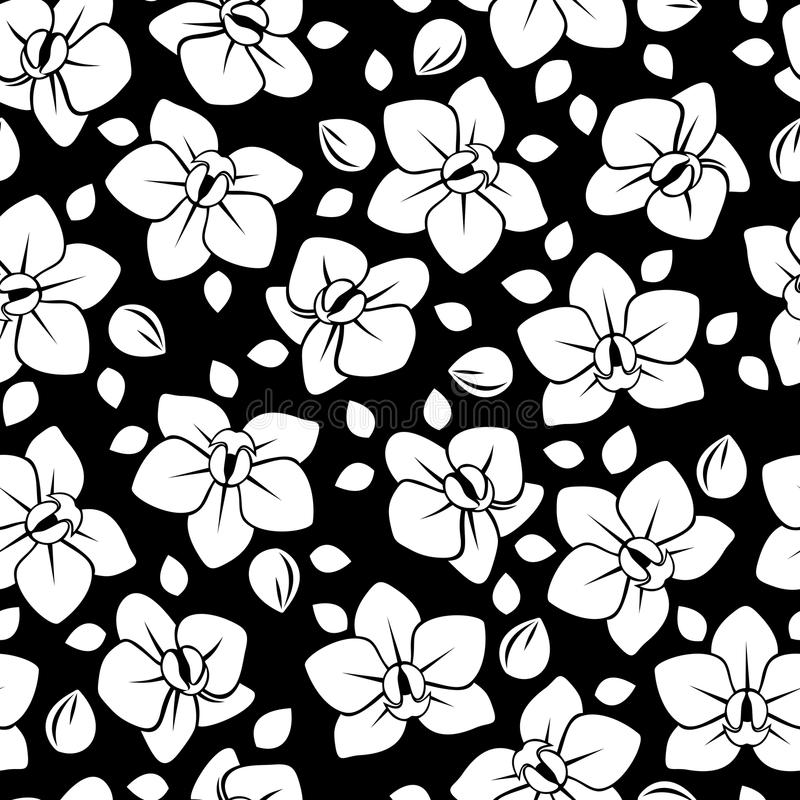 Black Flower And Bud Pattern Royalty Free Stock Photos: Seamless Pattern With Orchid Flowers. Stock Vector