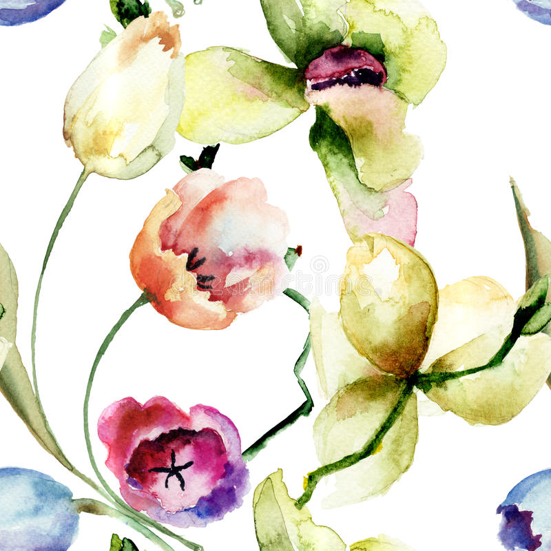 Seamless pattern with Orchid and Tulips flowers vector illustration