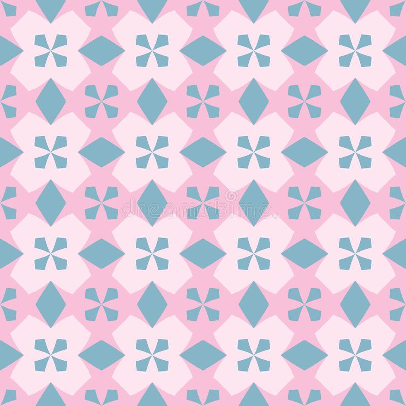 Seamless pattern with ordered arrangement of abstract geometric shapes. Image of blue crosses on a pink background. Colorful stock illustration