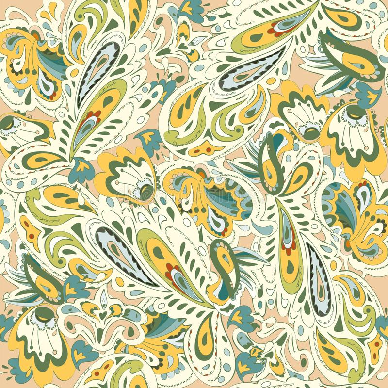 Seamless pattern with oriental ornament. Yellow, gold, beige, blue, green colors. Vector illustration. EPS10 vector illustration