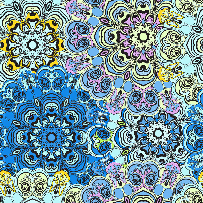 Seamless pattern in oriental style, colorful wallpaper or wrapping with mandalas design. Floral turkish, indian,chinese stock illustration