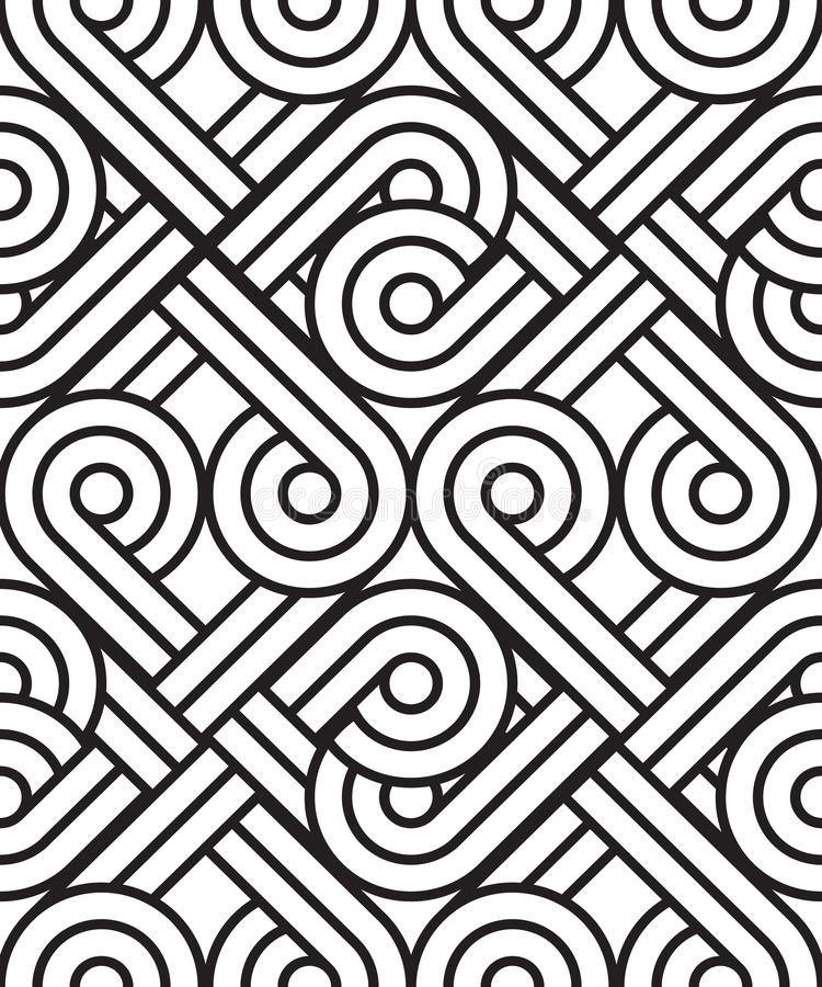 The seamless pattern of ornament. Black and white repeated background royalty free stock photo