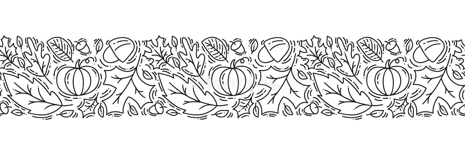 Seamless pattern ornament monoline with acorns, pumpkin and autumn oak leaves in black. Perfect for wallpaper, gift paper fill,. Web page background, autumn vector illustration