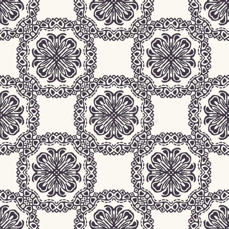 Seamless pattern hand drawn ornamental azulejo mosaic background. Geometric monochrome allover print. Vector floral circle swatch. Seamless pattern ornamental stock illustration