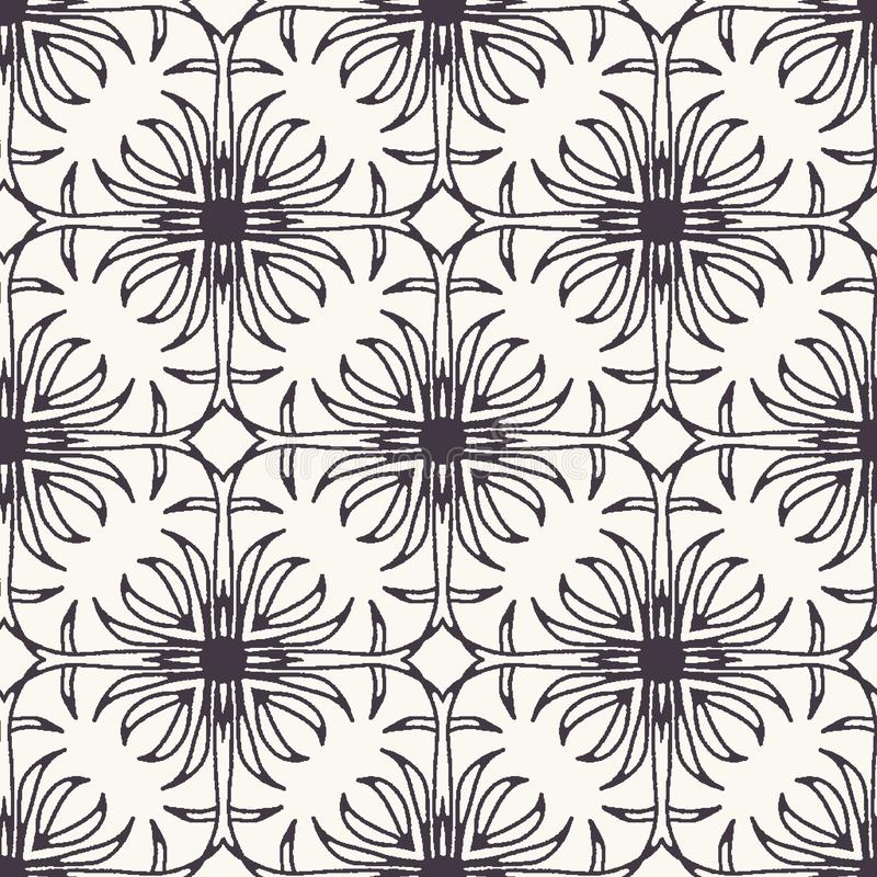 Seamless pattern hand drawn ornamental azulejo mosaic background. Geometric monochrome allover print. Vector floral. Seamless pattern ornamental azulejo mosaic vector illustration