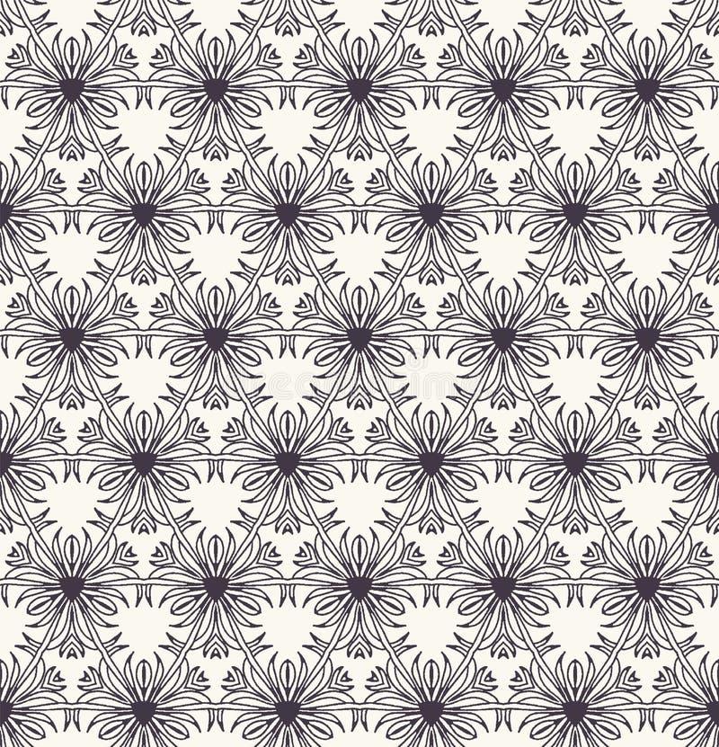 Seamless pattern hand drawn ornamental azulejo mosaic background. Geometric monochrome allover print. Vector floral. Seamless pattern ornamental azulejo mosaic stock illustration