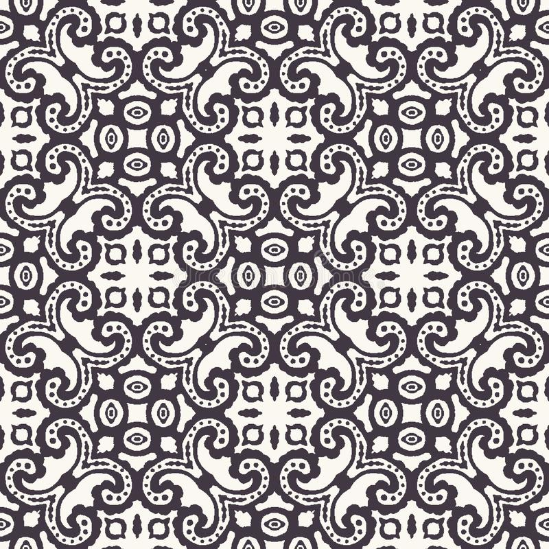 Seamless pattern hand drawn ornamental azulejo mosaic background. Geometric monochrome allover print. Vector intricate line art. Seamless pattern ornamental stock illustration